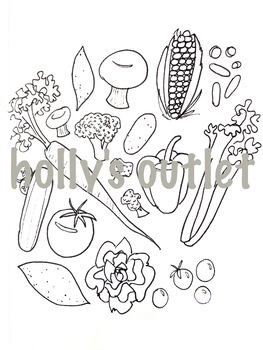 vegetables clipart coloring