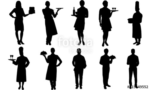 waiters clipart silhouette