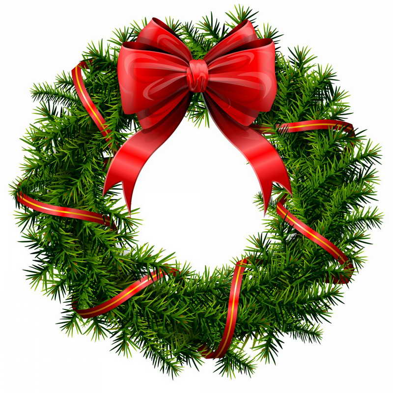 Christmas wreath clipart red.