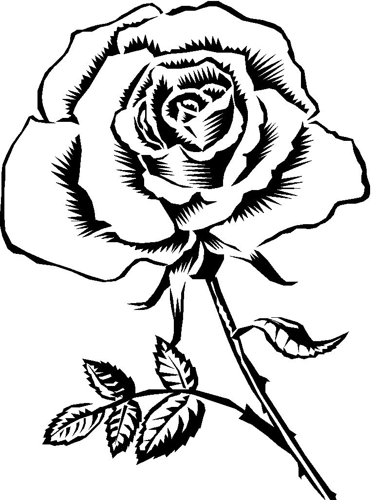 Rose clipart black and white svg.