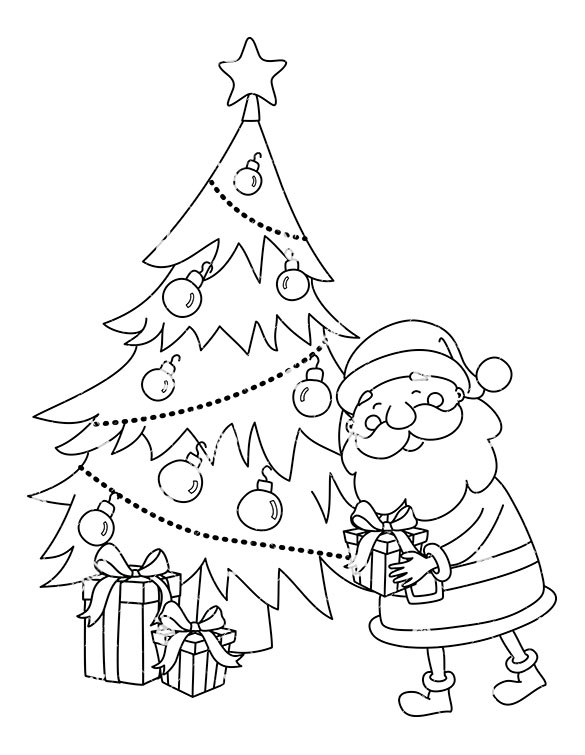 christmas tree clipart black and white santa