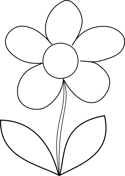flower black and white clipart small