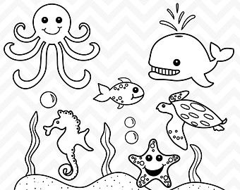 free black and white clipart ocean