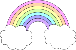 Clipart clouds pastel rainbow.