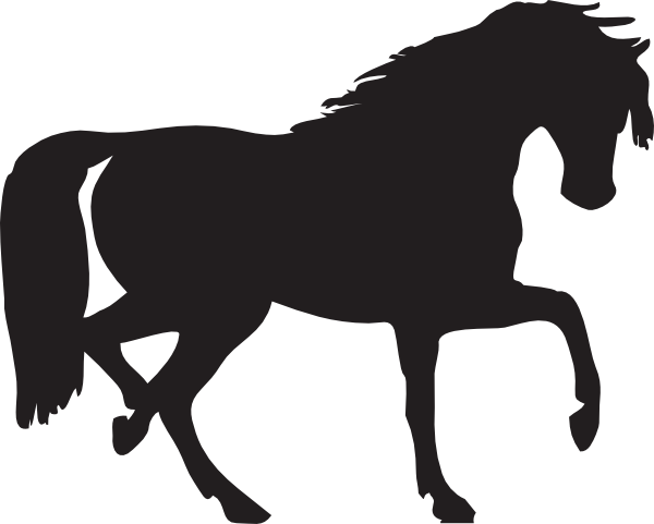 horse clipart black and white silhouette