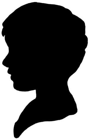 boy clipart black and white silhouette