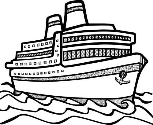 cruise ship clipart black and white