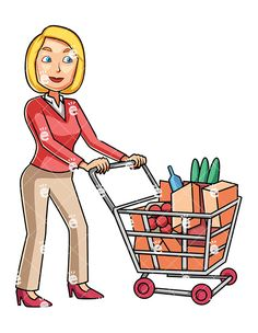 shopping carts clipart cartoon