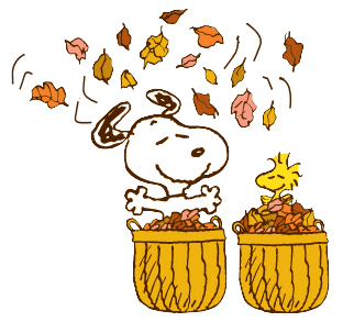 Snoopy clipart fall.