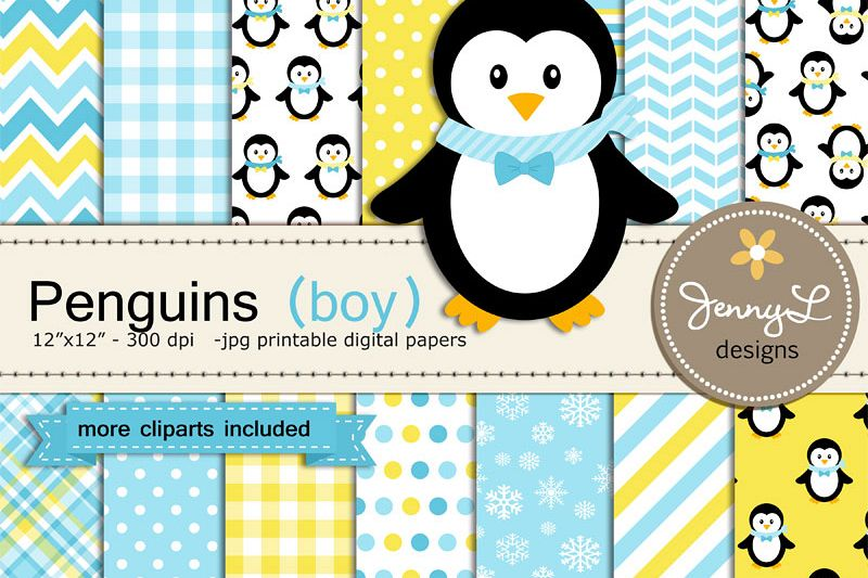 Snow clipart digital papers.
