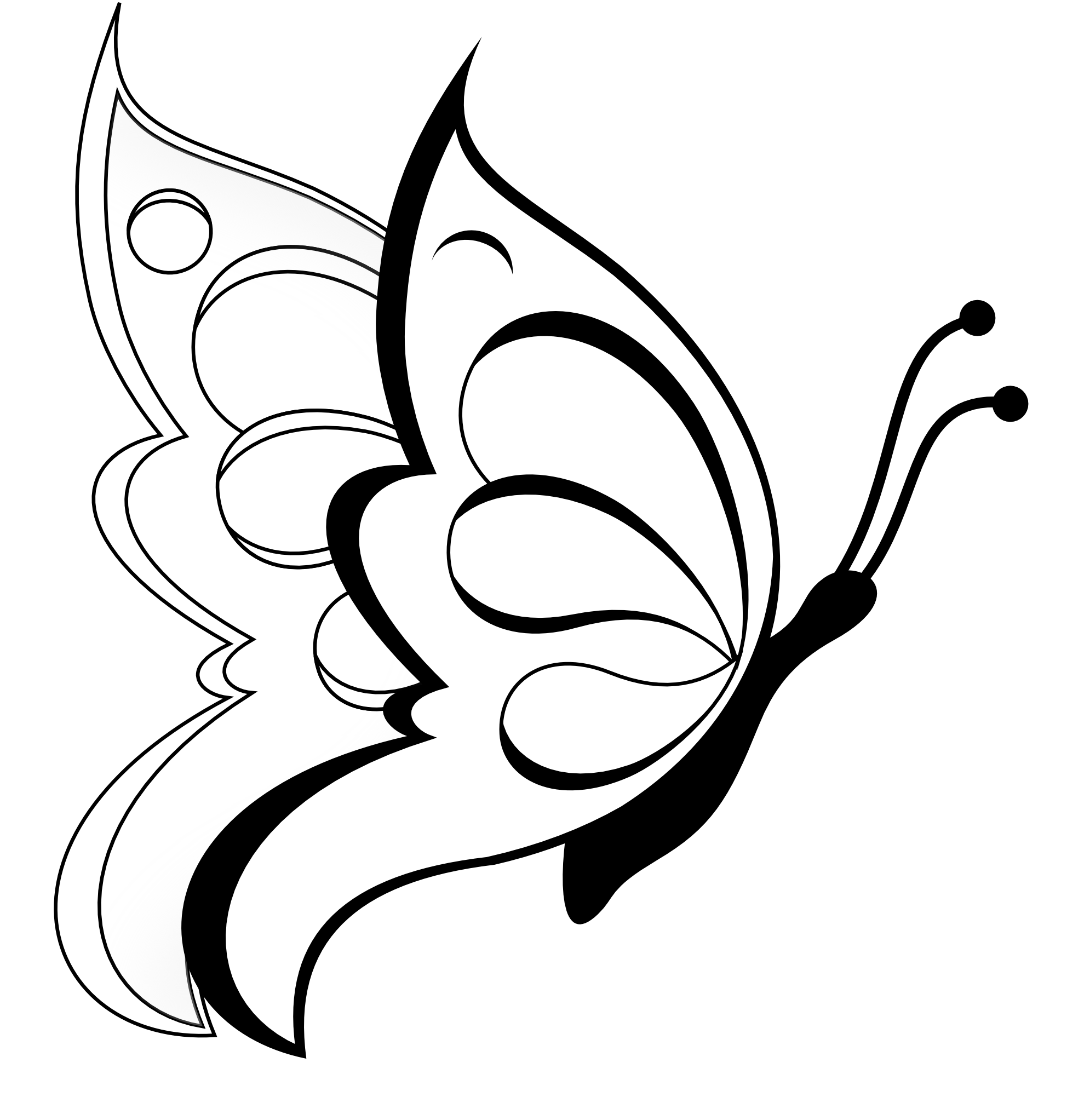 butterfly black and white clipart cute