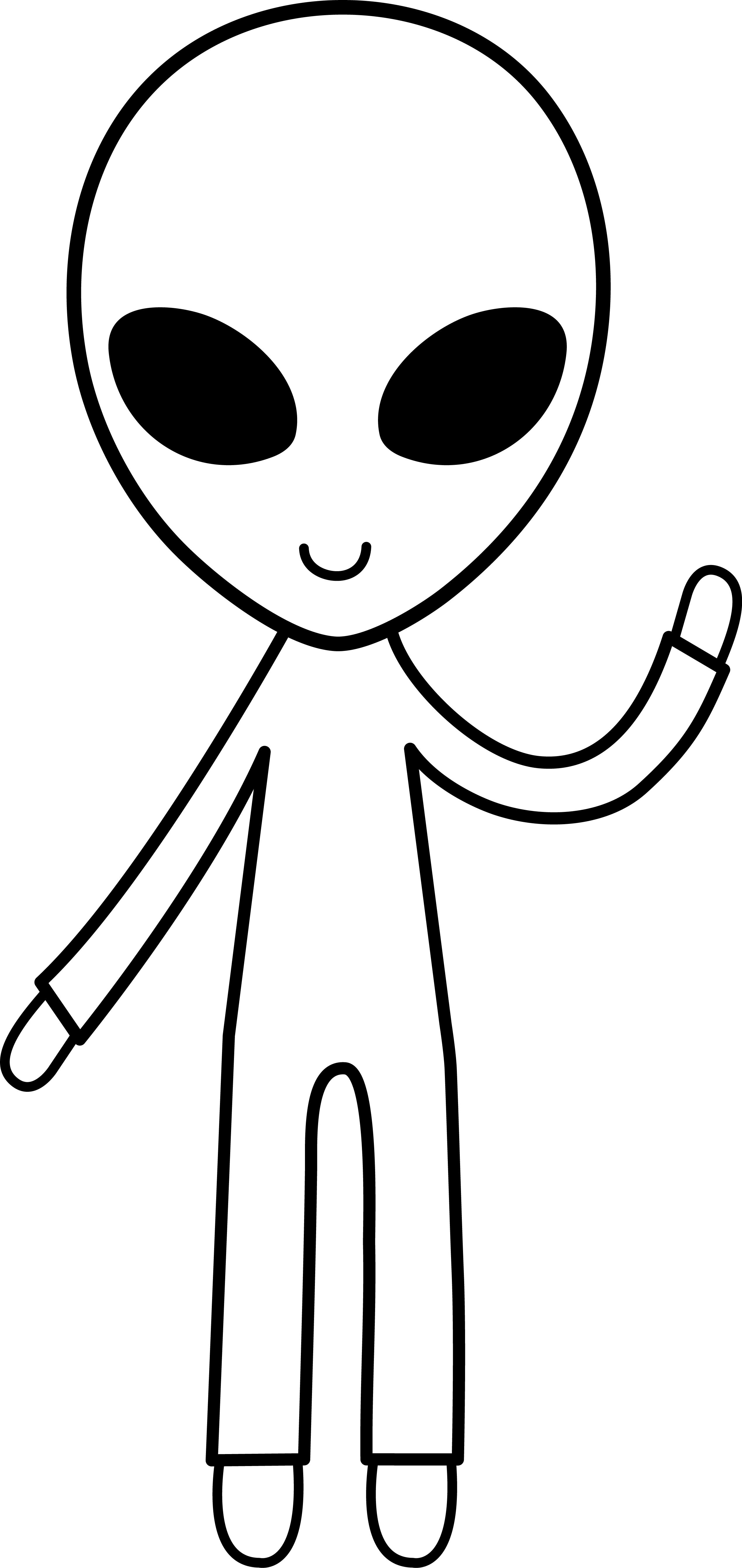 Alien clip art black and white.