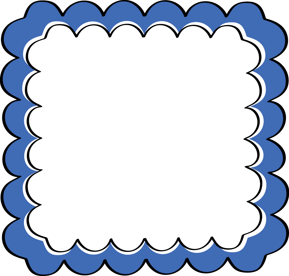 Squiggly clipart fancy square frame.