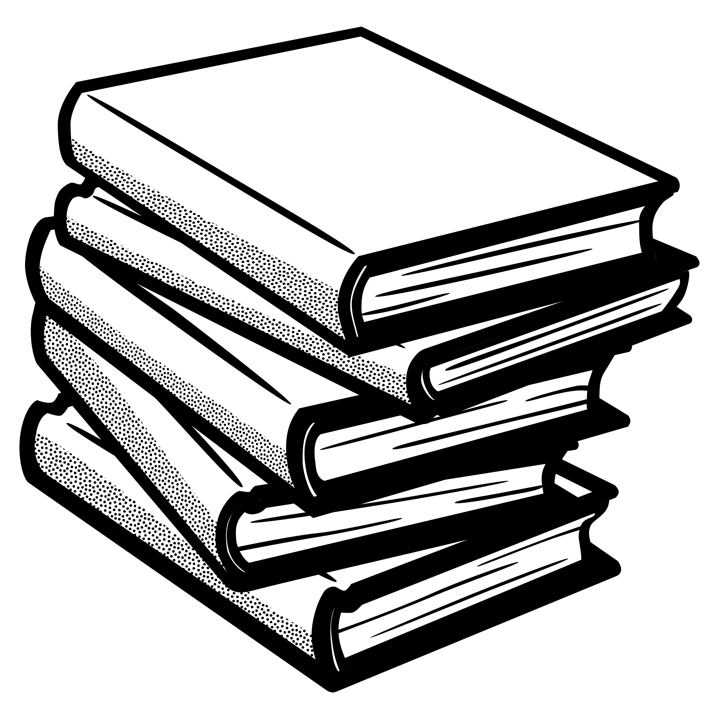 books clipart black and white pile