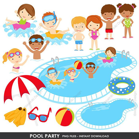 pool party clipart invitation