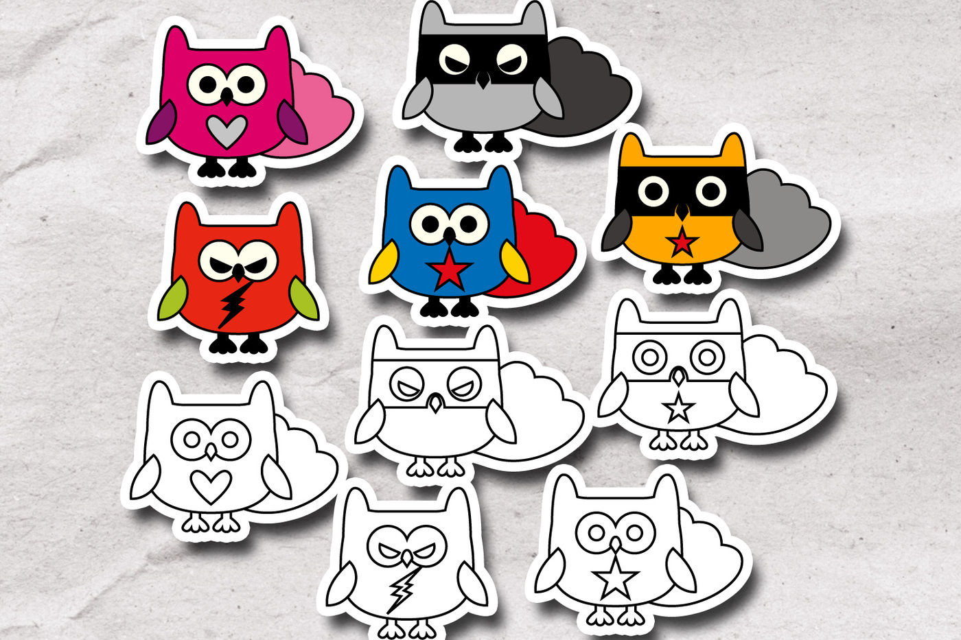 Superheroes clipart simple.