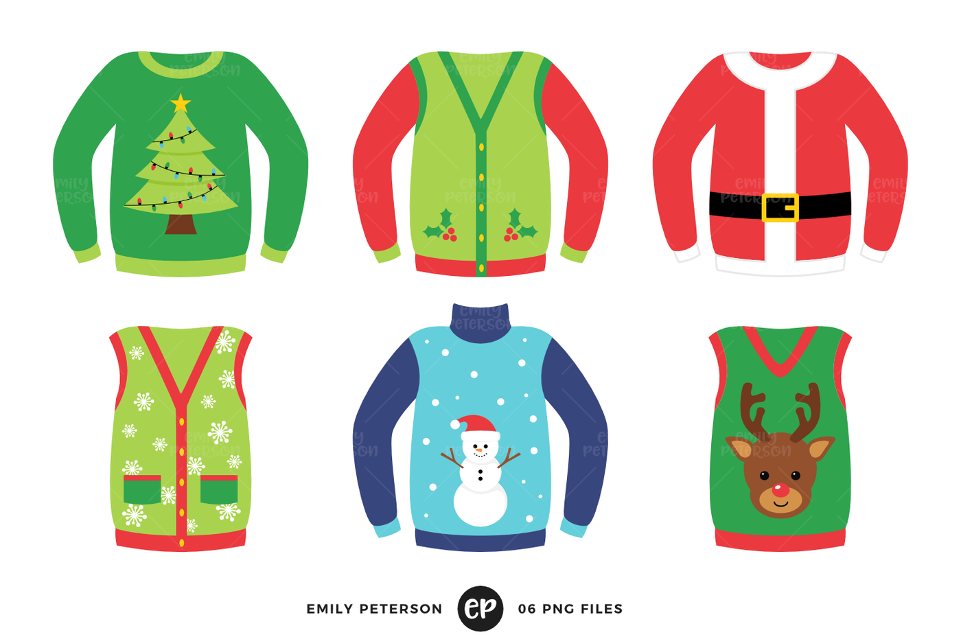 ugly christmas sweater clipart border