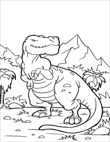 T rex clipart dinosaur coloring page.