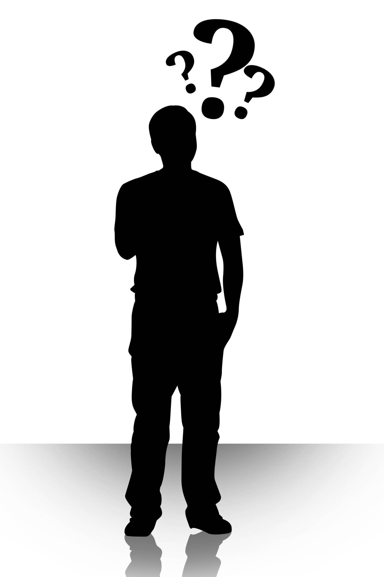 person silhouette clipart thinking