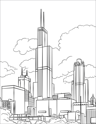 Tower clipart coloring page.