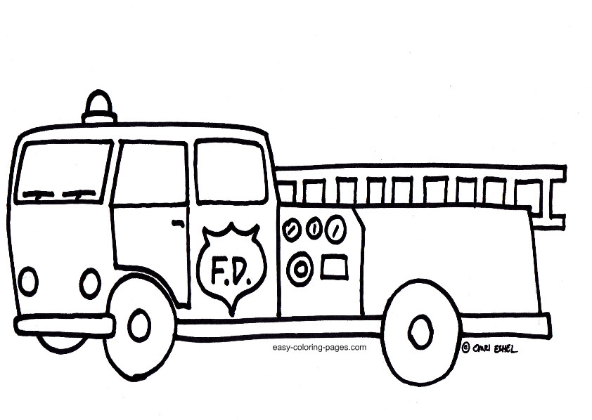 fire truck clipart outline