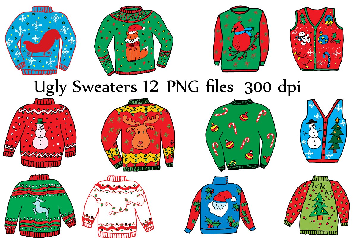 ugly christmas sweater clipart vector