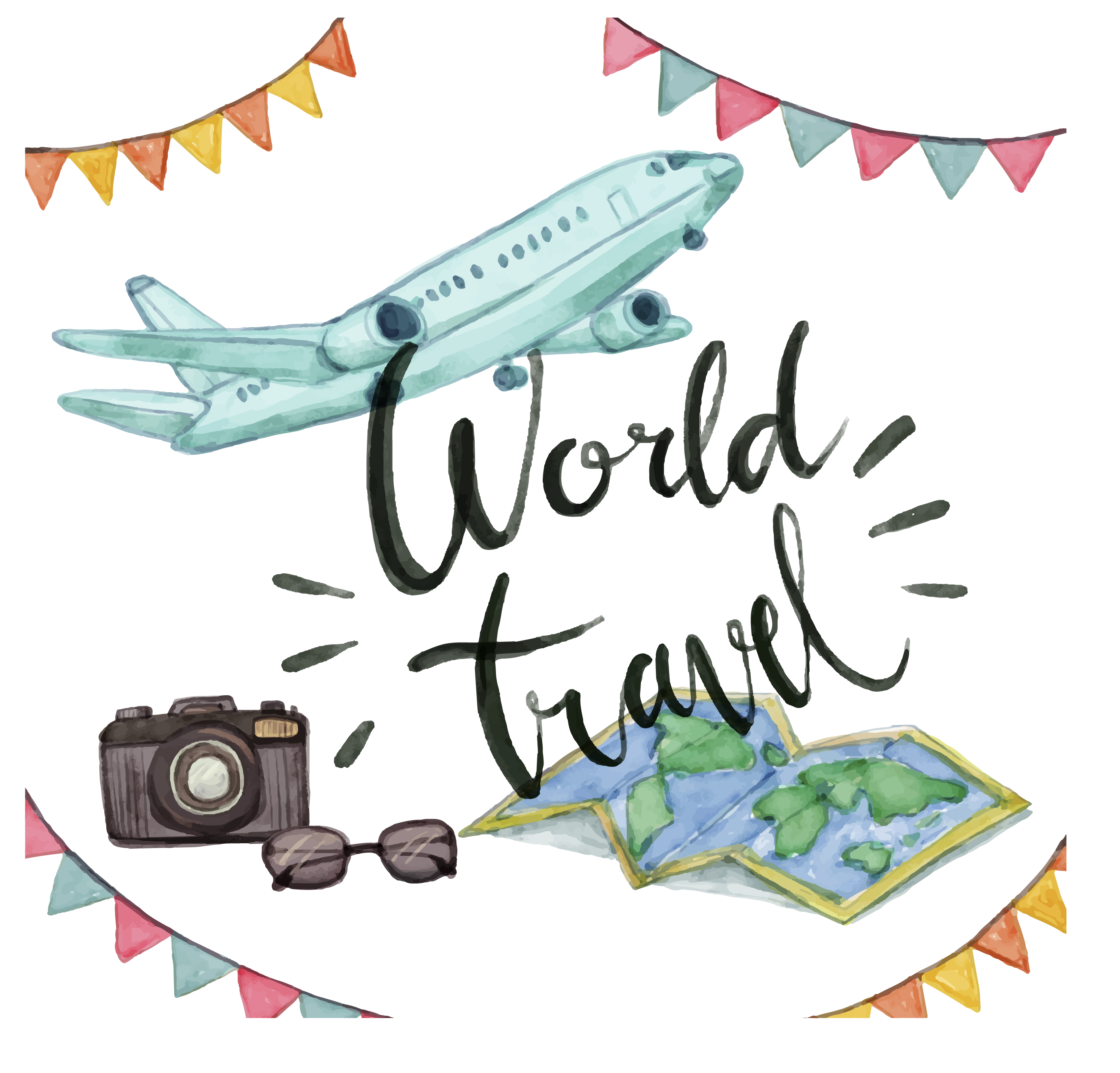 travel clipart watercolor