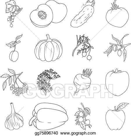 Vegetable clipart coloring.