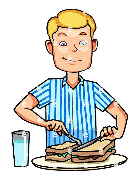 eating breakfast clipart character