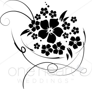 flower bouquet clipart silhouette