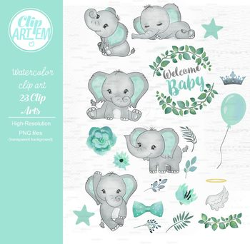 Baby elephant clipart watercolor.