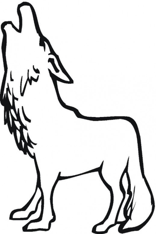 Wolf clipart black and white coloring.