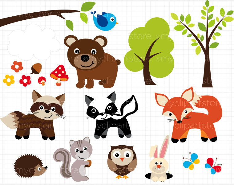 Woodland clipart forest animal.