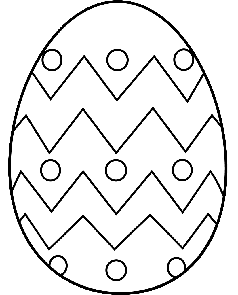 easter egg clipart black and white coloring page