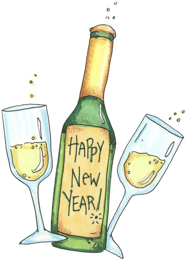 happy new year clipart champagne