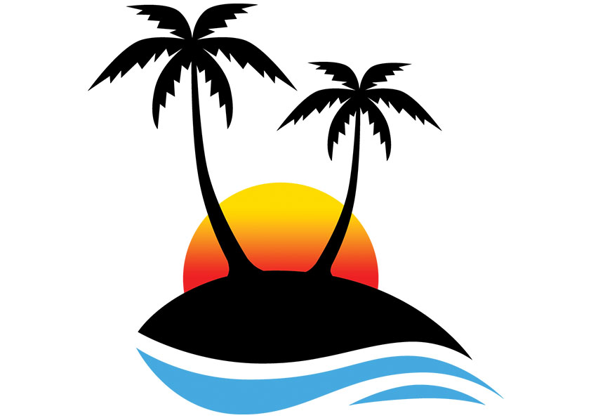 water clipart palm tree