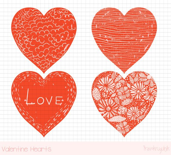 red heart clipart hand drawn